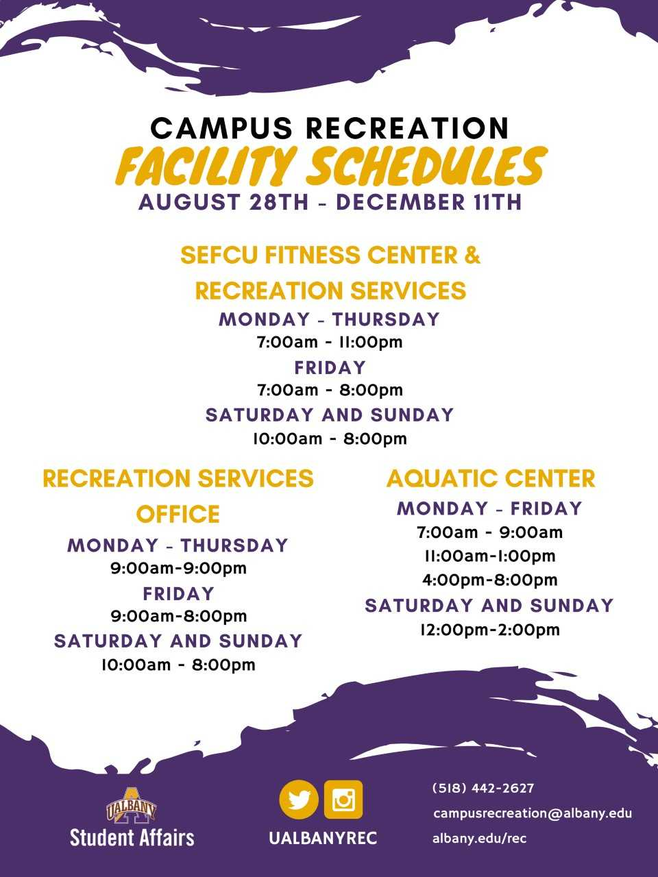 Schedules University At Albany Suny