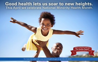 "Image of young African American Child playing airplane with father. With text reading ""good health lets us soar to new heights"" ""this April we celebrate National Minority Health Month"""