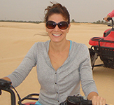 Lisa Baranik, biking during a trip to Tunisia — where she very much enjoys the oven-roasted Chicken Shawarma.