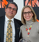 Associate Professor Gilbert Valverde and  EPL alumna Ancell Scheker Mendoza, Ph.D '11, director general of evaluation of educational quality in the Dominican Ministry of Education