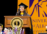 Madeeha Khan addresses new students at the 2016 Convocation