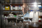 J. Andrew Berglund, at home in one of the labs of The RNA Institute in the Life Sciences Research Building.