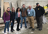 CEHC staff delegation meets with students in Israel. Left to right: Emily Barrett, CEHC director of experiential learning and external partnerships, Nancy Kreis '19, Kimberly Morales '20, Aidan Sobina '20, Robert Griffin, CEHC dean, Roger Parrino, Division of Homeland Security and Emergency Services commissioner