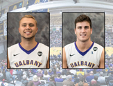 UAlbany basketball players Dallas Ennema and Mike Rowley
