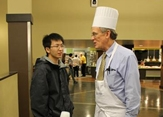 Professor John Delano with a student at Food for Finals