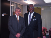 Dr. Robert J. Jones, the 19th President of the University at Albany, with School of Business Dean Donald Siegel.