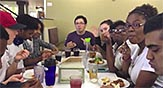 World of Biology students at a meal