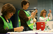 Nurses working in a continuing education program
