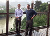 Mark Kuniholm, associate professor of Epidemiology and Biostatistics, and John Justino, director of the Center for Global Health, in Tbilisi, Georgia.