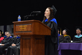 Richelle Konain '95 delivers remarks at the UAlbany School of Business 2018 commencement ceremony
