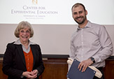 Interim Provost Edelgard Wulfert with Jonathan Muckel, Professor of Practice, Electrical and Computer Engineering