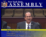 UAlbany President Havidán Rodríguez in the New York State Assembly