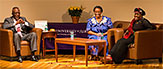 University at Albany President Robert J. Jones and Jones and Archbishop Desmond Tutu's daughters – activist Nontombi Naomi Tutu and researcher Thandeka Tutu-Gxashe