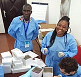 Students working in a West African Clinic