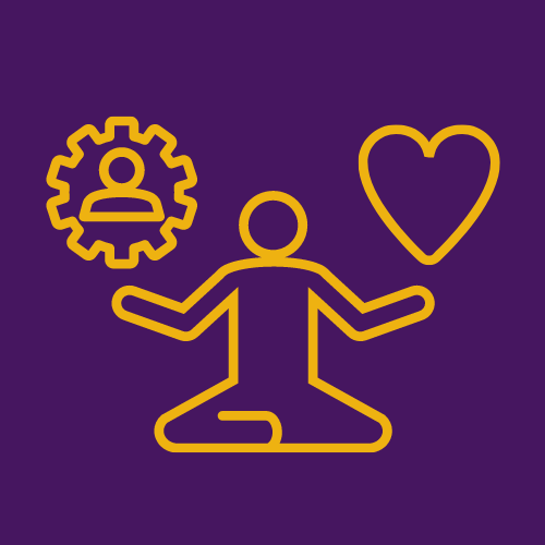 outline of a person sitting and choosing between an icon of a gear and an icon of a heart