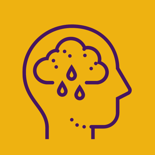outline of a person's head in profile with a raincloud inside