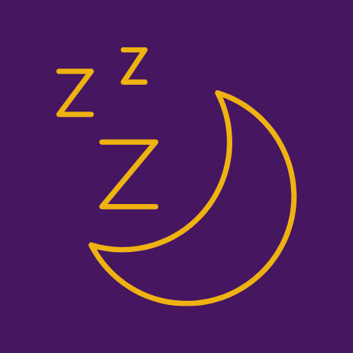 outline of a crescent moon and three Z's floating above it