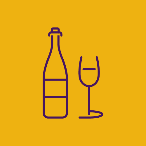 outline of a wine bottle and wine glass
