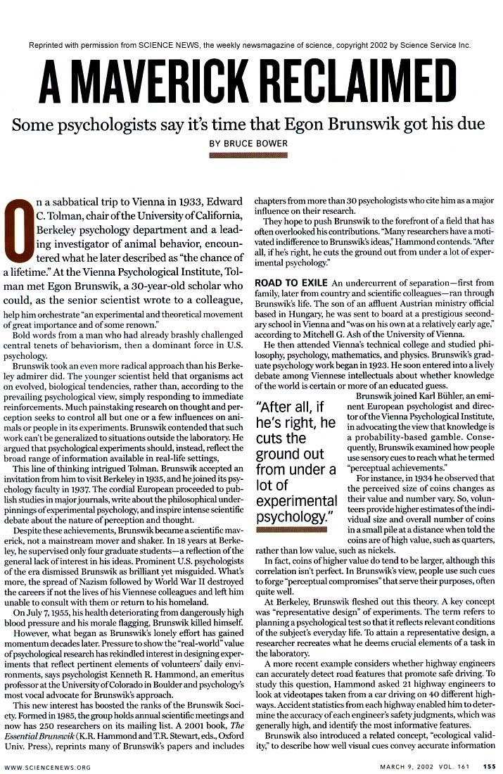 science 2000 march 2002 cpr brunswik reclaimed maverick bower bruce word file egon albany edu