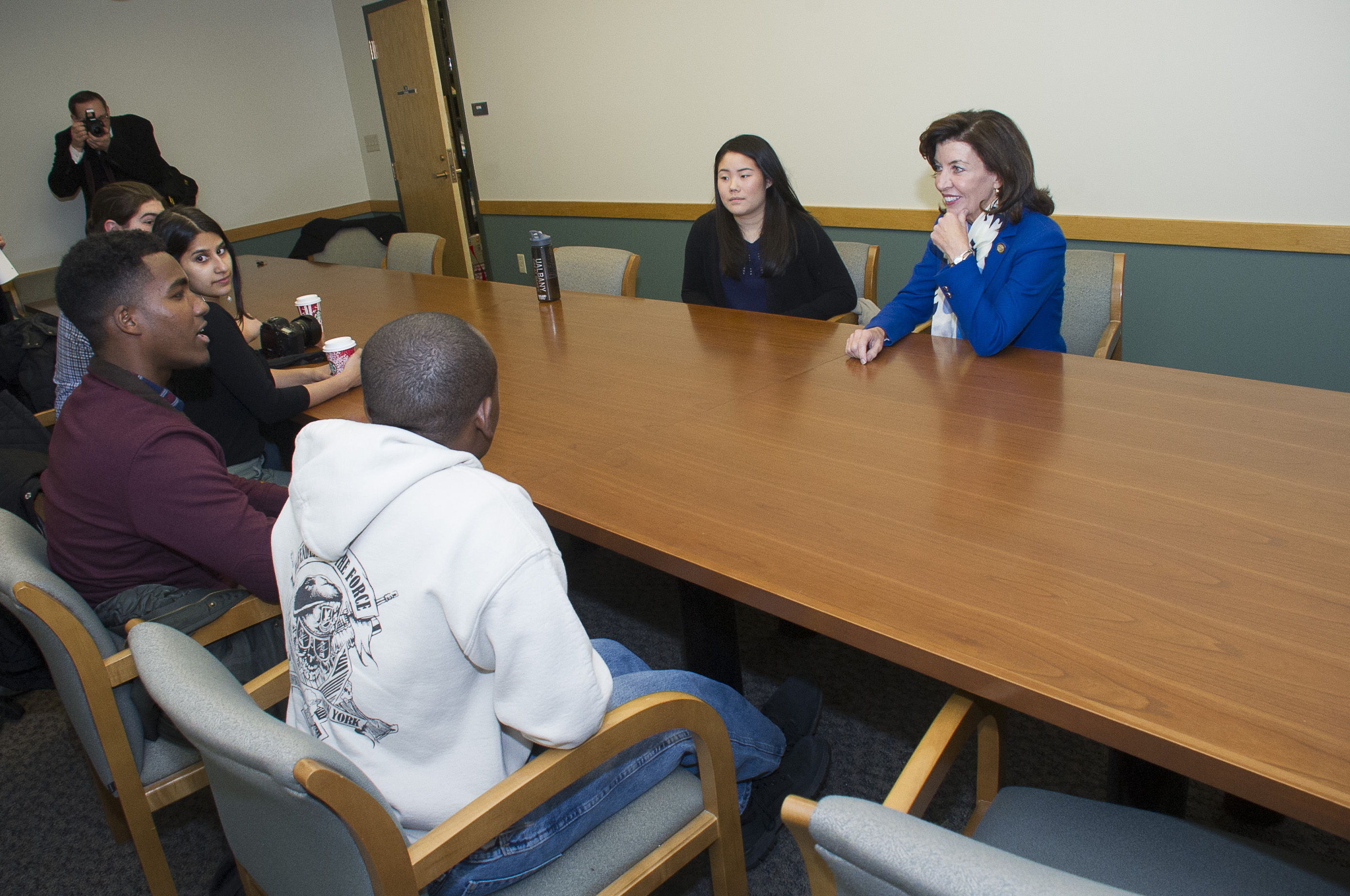 Lt. Gov. Kathy Hochul meets with UAlbany students on Monday, November 28, 2016Lt
