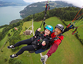 Melanie Conte, a senior communications major, skydives while studying abroad in Interlaken, Switzerland.