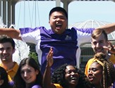 Orientation leaders at the entry plaza on the Uptown Campus.