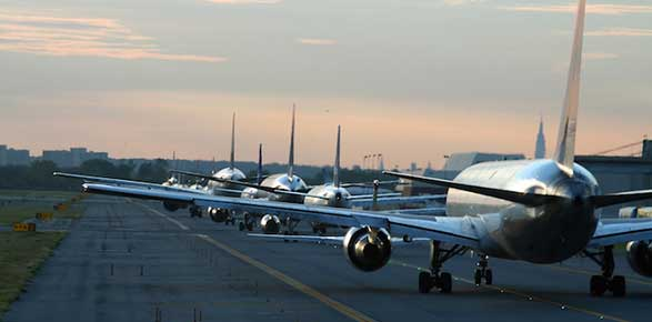 Airplanes on the runway waiting to take off