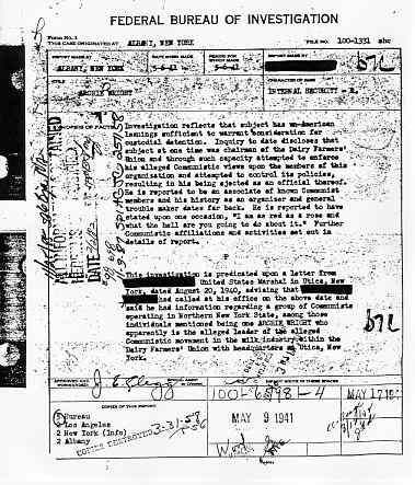 A cover page from Archie Wright's FBI file.