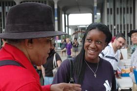 Ariffa England of Binghamton meets Professor of Africana Studies Leonard A. Slade Jr.
