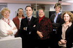 Zvi Gellis, third from left, is shown here in this 2003 photo with members of his research team that found high rates of depressive symptoms in medically ill adults who were 65 years old and older and receiving home health care services. From left: Jean McGinty, director of St. Peter's Home health care; Jean Burton, medical social worker with the St. Peter's Homecare agency; Gellis; home care supervisor Linda Tierney; social worker Elizabeth Misener; and Alison Ruggiero, Gellis's graduate social work assistant.