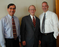 From left to right: Jeffrey A. Mishkin '69, Dean Frank Thompson, Lewis S. Wiener '84