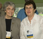 Class of '56 alumni Jane Anne Russell and Vivian Benenati reminisce.