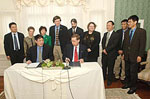 Agreement signing between University at Albany and East China Normal University.