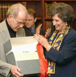 William Kennedy and President Karen R. Hitchcock.