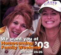 We want you at Homecoming/Family Weekend '03, October 24-26