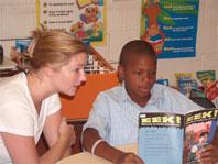 Graduate student Nancy Werner works with Jan-Quan Brown.
