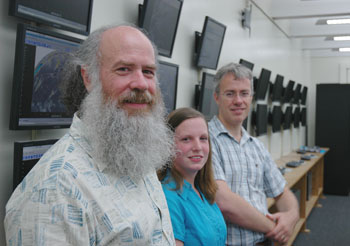 Jeffrey Haugaard, Sara Ganetis, and Atmospheric and Environmental Sciences Chair Christopher Thorncroft