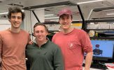 UAlbany alum NNoah Pacik-Nelson, Nick Domnisch and Justin Schroeder at the workspace of The Ventilator Project in Boston.