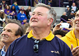 Peter Bulger looks to the scoreboard during UAlbany's homecoming football game