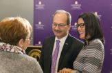 President Havidan Rodriguez and his wife, Rosy Lopez, greet donors at a 2018 reception.