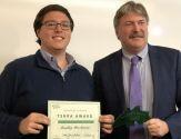 Bradley Herschenson, Terra Award winner, with VP for Finance and Administration Todd Foreman