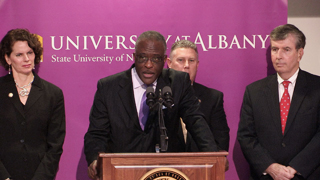 UAlbany President Robert J. Jones, with NY State Legislators