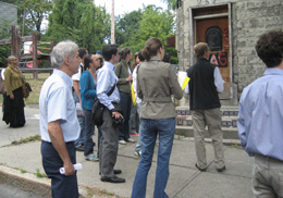 Members of the Urban & Regional Planning group survey properties for improvement to Albany's South End