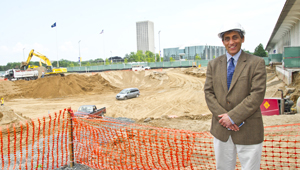 UAlbany School of Business Dean Donald Siegel at new school building site