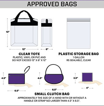 allowable bags into Bob Ford Field
