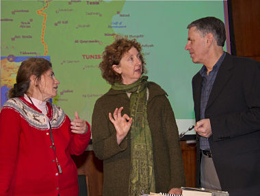 UAlbany Journalism professors Rosemary Armao, Nancy Roberts, and Thomas Bass. (Photo Mark Schmidt)
