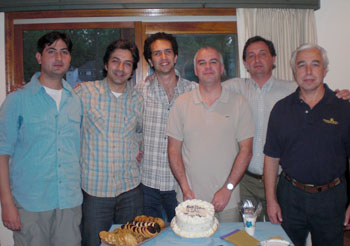Five Argentinean MBA students and Carlos Greco, professor and MBA program director for Universidad del Salvador