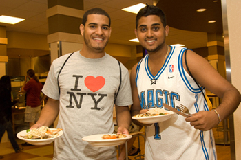 Student enjoy the healthy, locally-grown food options at newly-renovated Indian Quad Dining Hall.