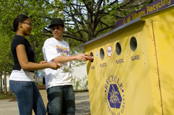 Recycling on the UAlbany campus.