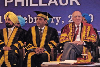 UAlbany Distinguished Professor of Criminal Justice David Bayley, far right, sits with dignitaries as keynote speaker at the Punjab Police Academy graduation.